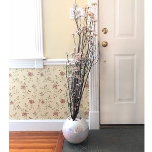 White Prism Vase with Faux Bamboo Flowers